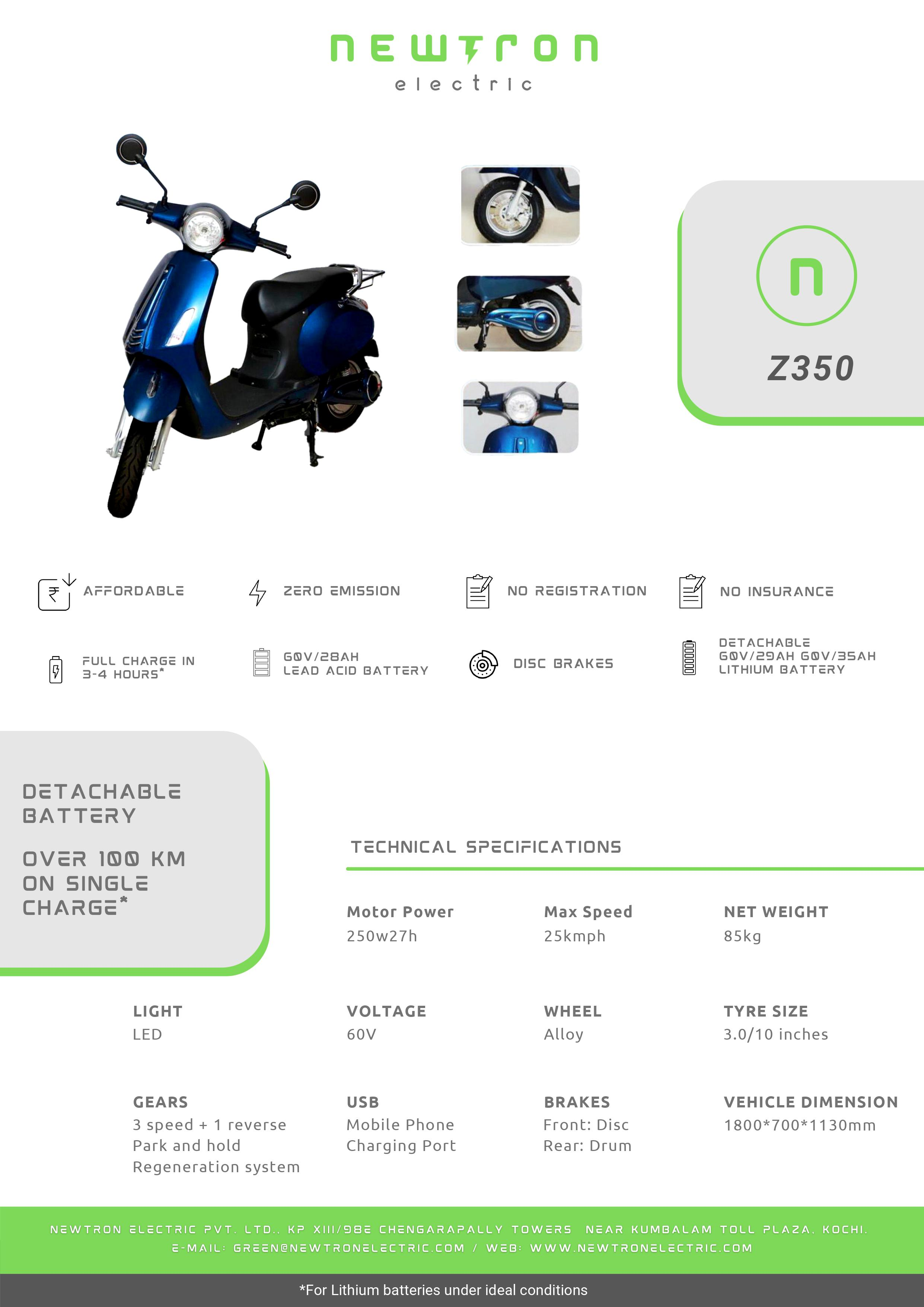 """""""Newtron"""" low speed electric scooters Z350 60v29ah - No Registration/License required"""