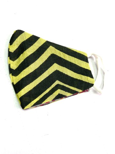 3 Layer Cotton Reusable Face Mask With Black and Yellow Stripes