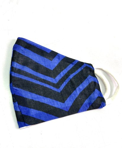 Reusable Cotton Face Mask With Blue & Black Stripes